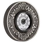 现货:澳洲图瓦卢2018年2盎司阿兹特克历法太阳温度计镶嵌仿古银币