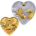 2018年吉祥文化(珠联璧合)圆形金银套币