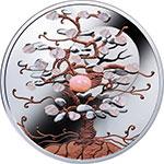 纽埃2018年幸运树(3)粉红蛋白石镶嵌彩色精制银币(需预定)
