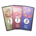 WGYB671-C  2018年俄罗斯25卢布3枚一套世界杯原装彩色纪念币(Russia 欧洲)