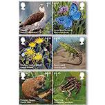 OZ3782英国邮票2018年英国新引进的物种 鱼鹰 大蓝蝴蝶等新6全