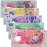 WGZB2887-B 马尔代夫5枚张(5.10.20.50.100拉菲亚)塑料钞套币(Maldives 亚洲)