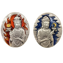 中国佛像纪念章(第4组)--日光菩萨、月光菩萨小银章套装