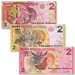 2015-2017年澳大利亚3张2元羊猴鸡年月银商业纪念钞套币