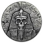 乍得2017年2盎司古埃及法老拉美西斯二世骷髅加厚仿古银币