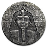 乍得2017年2盎司古埃及法老拉美西斯二世加厚仿古银币