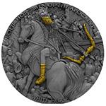 现货:纽埃2018年2盎司天启4骑士(1)白马骑士超高浮雕仿古银币