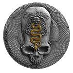 喀麦隆2018年骷髅头(3)蛇形雕花骷髅头高浮雕仿古银币(需预定)