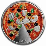 所罗门群岛2015年比萨饼香味彩色精制银币