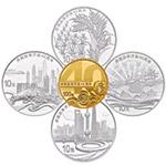 2018年庆祝改革开放40周年圆形金银套币