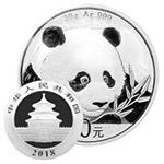 2018年熊猫30克圆形银质纪念币