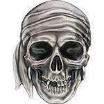 帕劳2017年海盗骷髅头异形仿古银币
