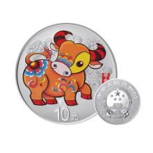 2021年辛丑(牛)30克圆形彩色银质纪念币