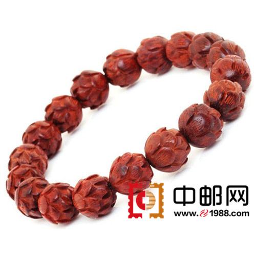 hmc0176 印度同料小叶紫檀莲花南工雕收藏版佛珠手串