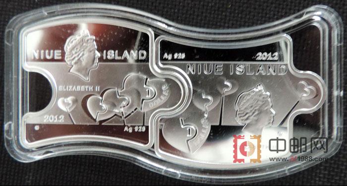纽埃2012年情人节你和我精制异形拼图镶嵌绿水晶彩色纪念银币