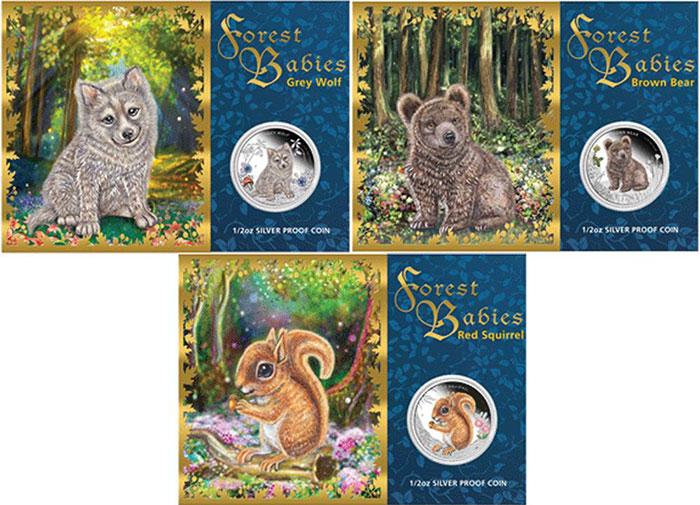 澳大利亚图瓦卢2013年森林动物宝宝精制彩色纪念银币3