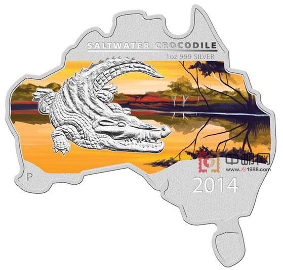 澳大利亚2014年地图系列(6)咸水鳄1盎司彩色精制银币