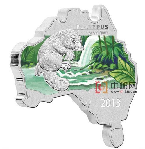 澳大利亚2013年地图系列(4)鸭嘴兽1盎司彩色精制银币