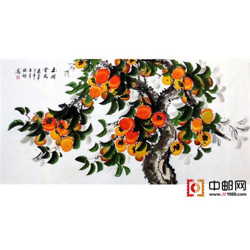 写意国画手绘精品四尺柿子4