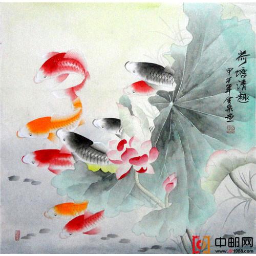 四尺斗方国画工笔荷花九鱼图3