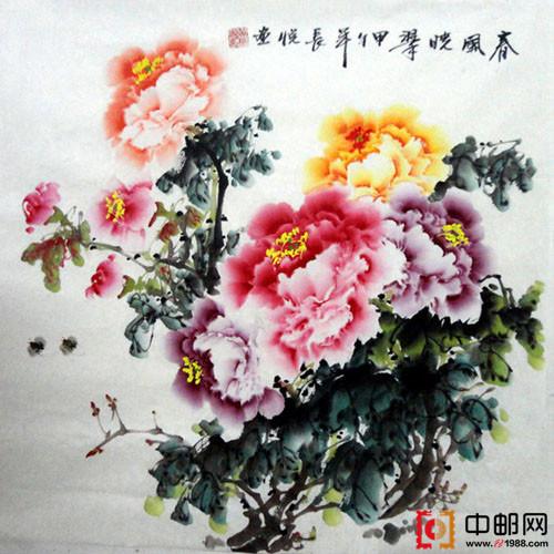四尺斗方国画牡丹6