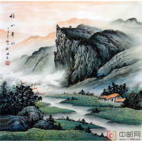 国画四尺斗方山水15