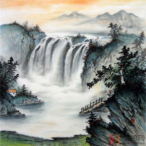 国画四尺斗方山水11