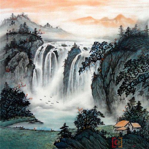 国画四尺斗方山水10
