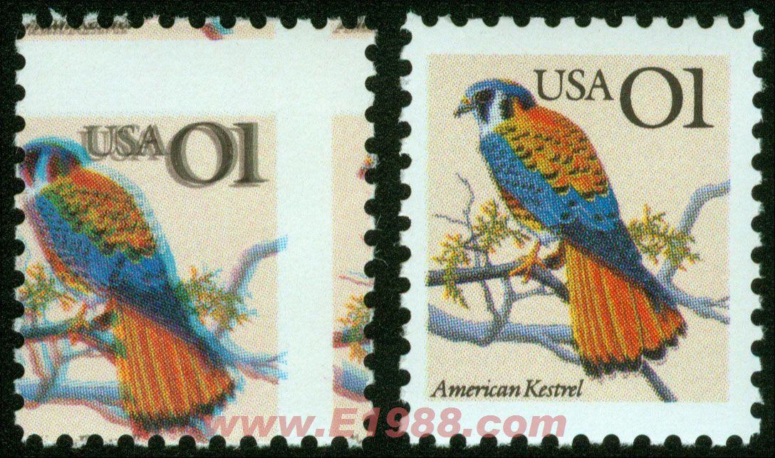 美国动物票-鸟印刷重影兼齿孔大移位变体