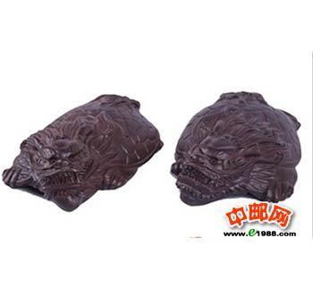 香檀木 黑檀木雕刻龙龟摆件