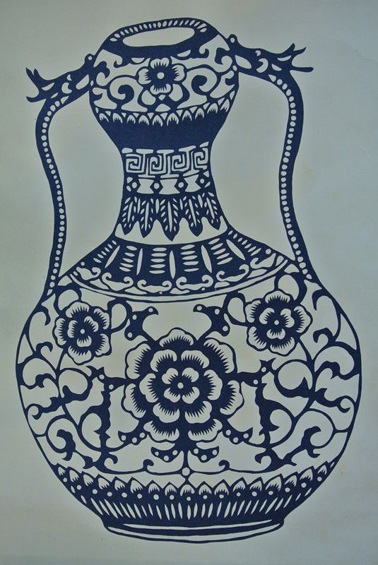 手绘纸盘子 青花瓷