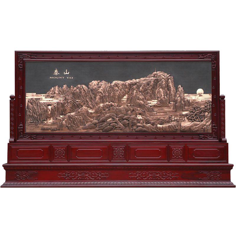红木屏风 浮雕柜屏 泰山(大图展示)