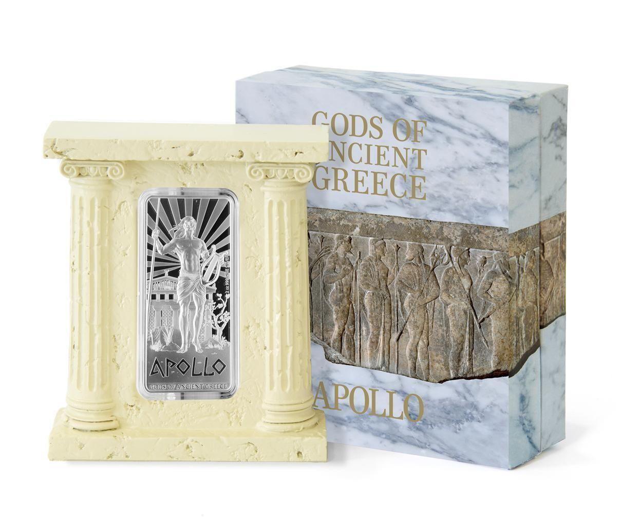 纽埃2015年十二主神五光明之神阿波罗长方形2盎司银币
