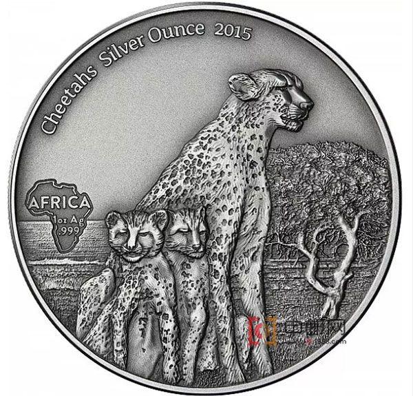 加蓬2015年非洲珍稀动物系列母子猎豹仿古1盎司银币
