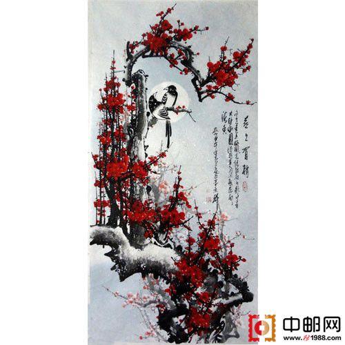 四尺国画手绘梅花喜上眉梢1(大图展示)