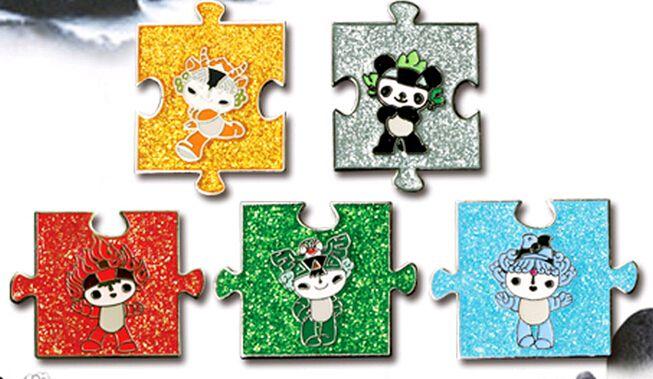 2008 北京奥运会 吉祥物 五福娃亮粉拼图徽章(大图展示)