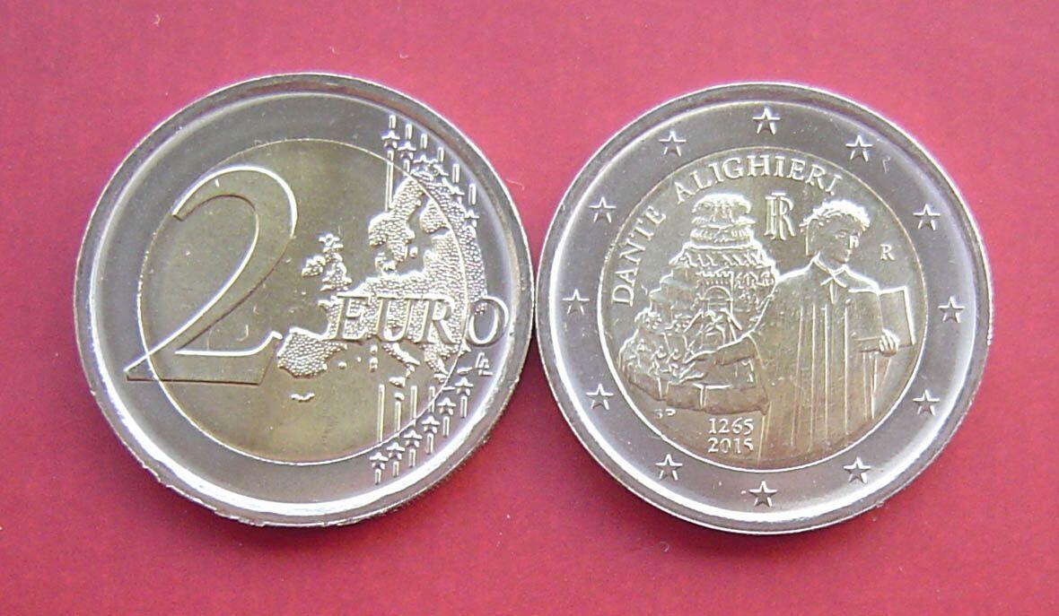 意大利2015年纪念但丁诞辰750周年-2欧元双色镶嵌纪念图片