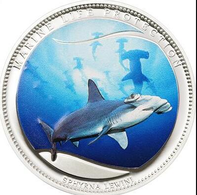 帕劳2010年海洋动物路氏双髻鲨榔头鲨鱼类精制铜镀银彩色纪念币(大图