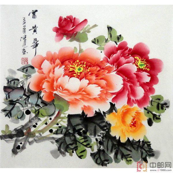 三尺斗方国画手绘牡丹