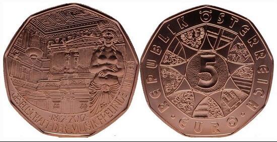 奥地利 2012年 维也纳爱乐协会 5欧元 纪念铜币(大图展示)图片
