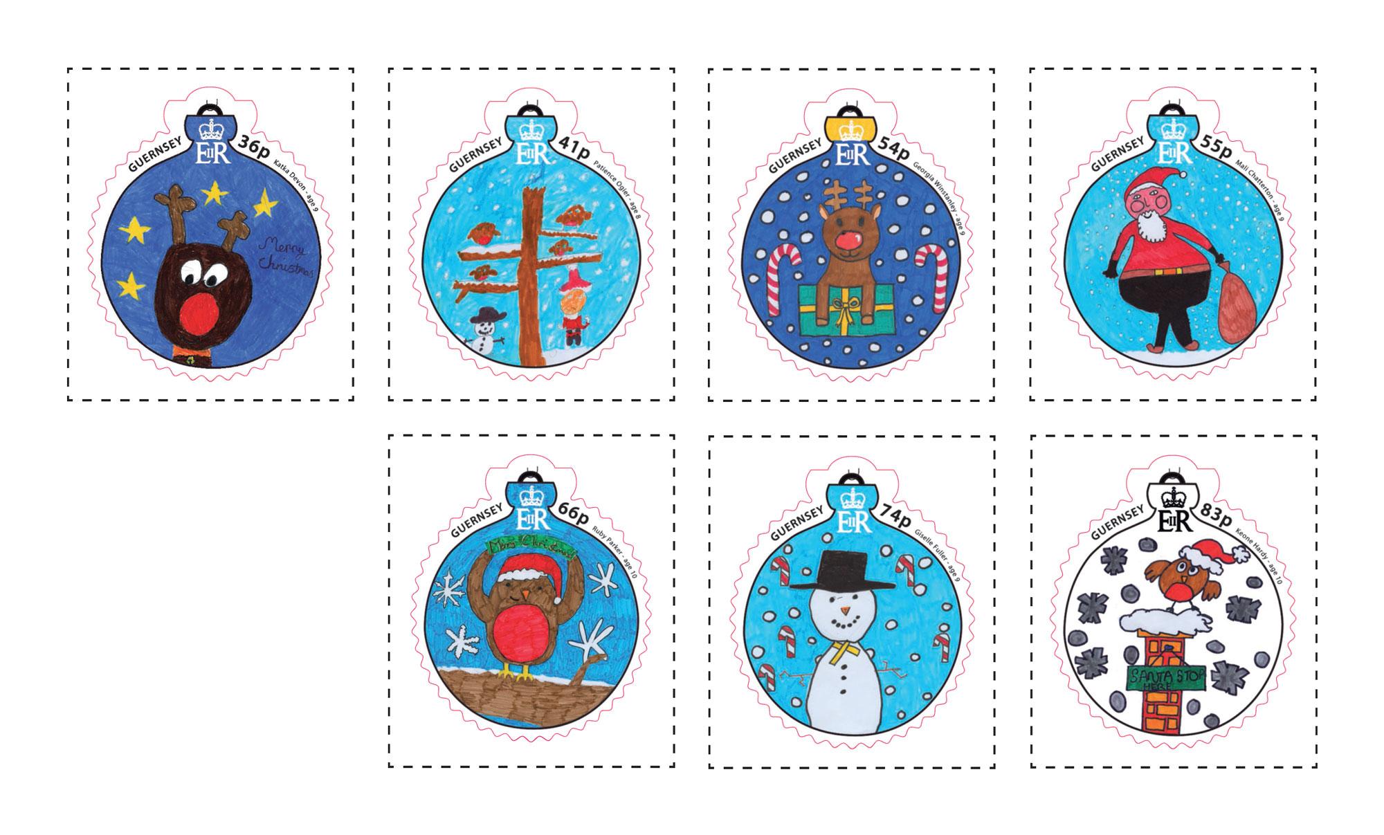 格恩济2014圣诞节儿童画可爱圣诞树挂饰灯泡形异形不干胶邮票7全(大图