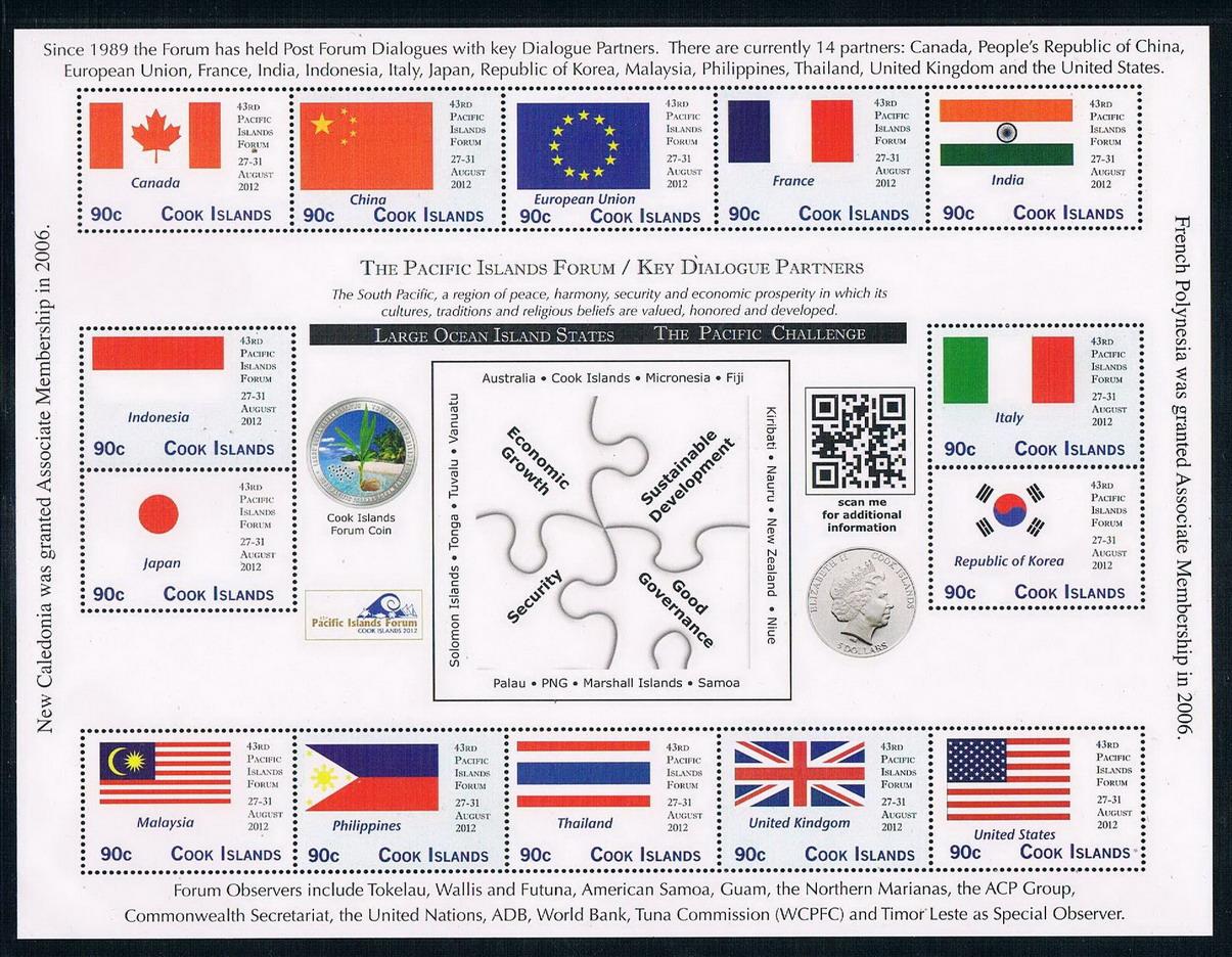 库克群岛2012南太平洋群岛对话国国旗全新外国邮票