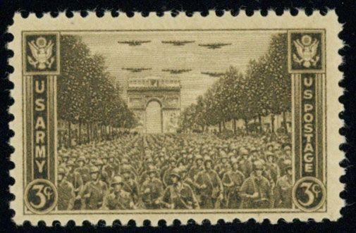 美国邮票1945年军事战争二战 巴黎凯旋门 士兵(雕刻版