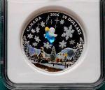 加拿大2016年节日系列威尼斯玻璃小天使彩色精制NGC评级纪念银币