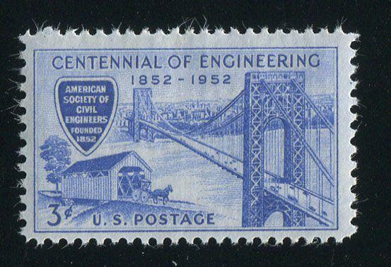 美国邮票 1952年 土木工程师协会百年桥梁吊桥 雕刻版