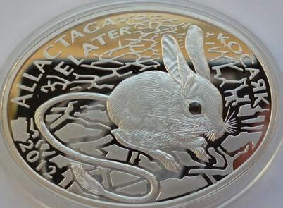 哈萨克斯坦2012年动物系列飞鼠镶嵌黑宝石椭圆形银币(大图展示)