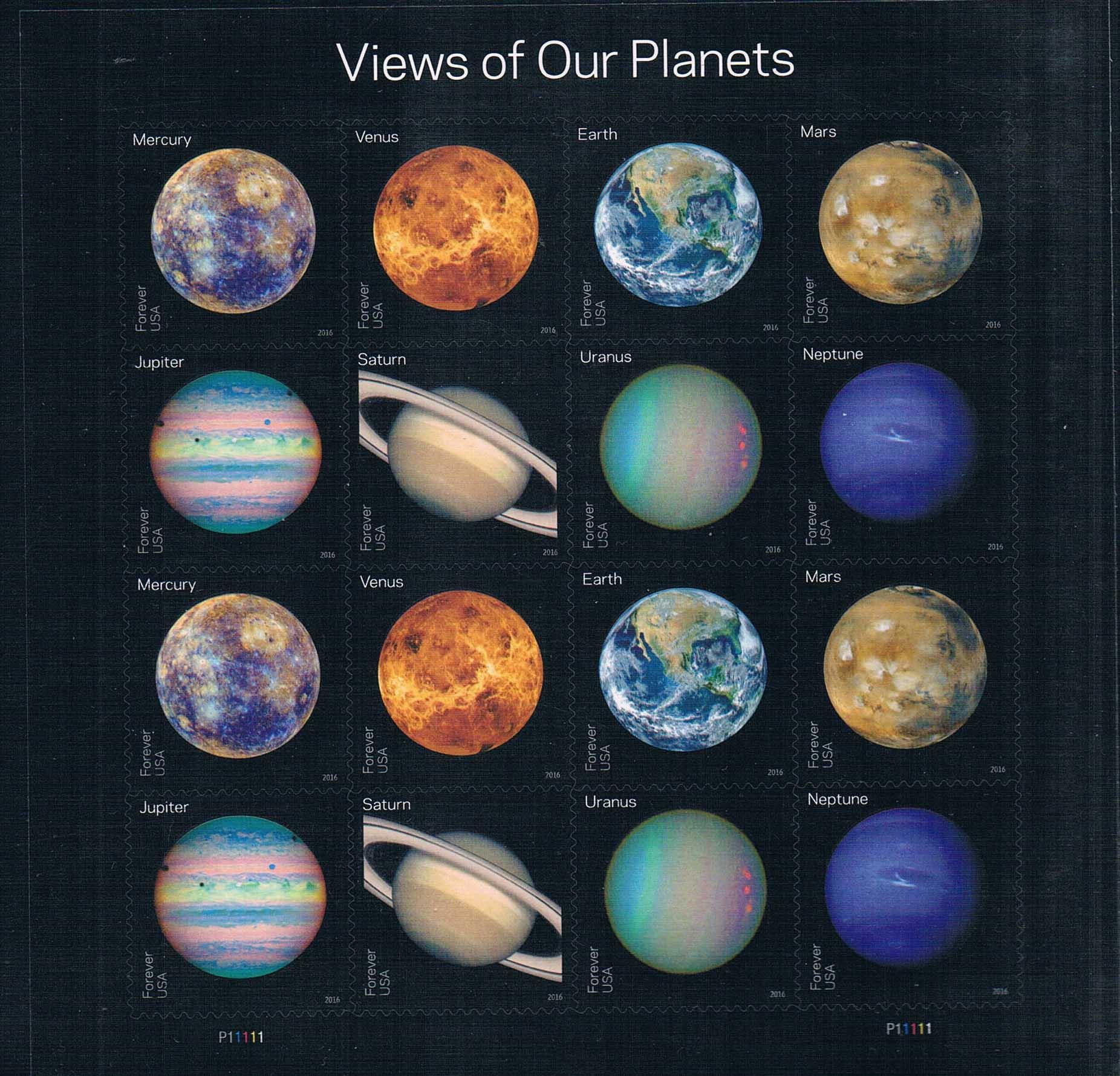 国2016天文太阳系八大行星不干胶版张MS全新外国邮票