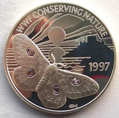 格恩西岛1997帝王蛾2磅银币(大图展示)