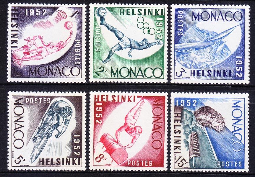 摩纳哥邮票 1953年15届运动会:篮球足球自行车赛 6全新(大图展示)