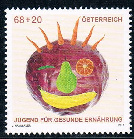 奥地利2015青年健康饮食蔬菜全新外国邮票(大图展示)